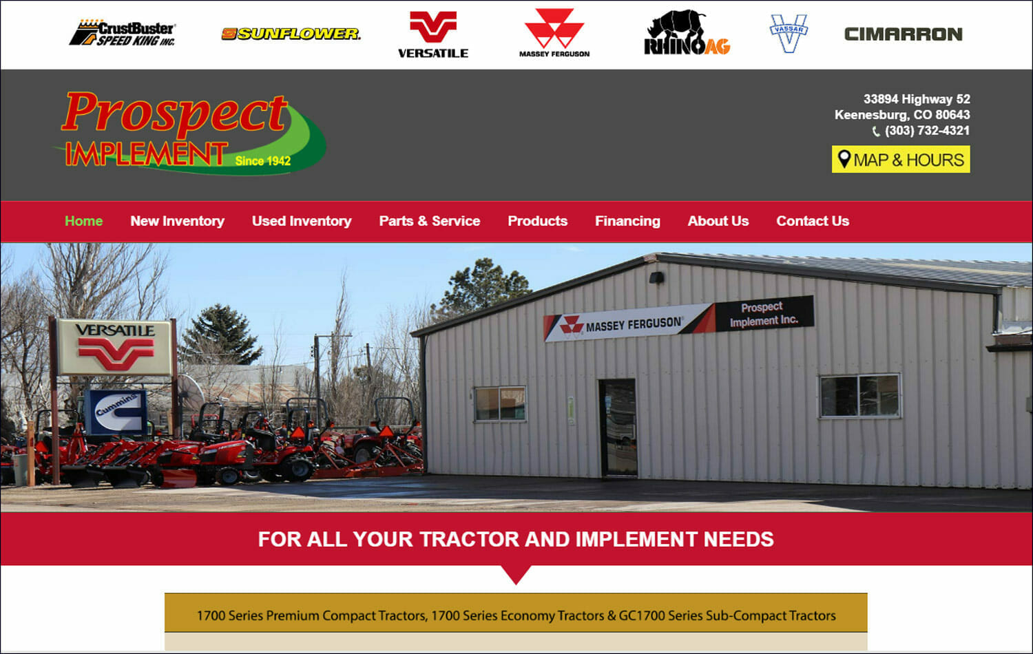 prospect implement home page